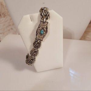 Vintage 80's Turquoise Silvertone Link Bracelet